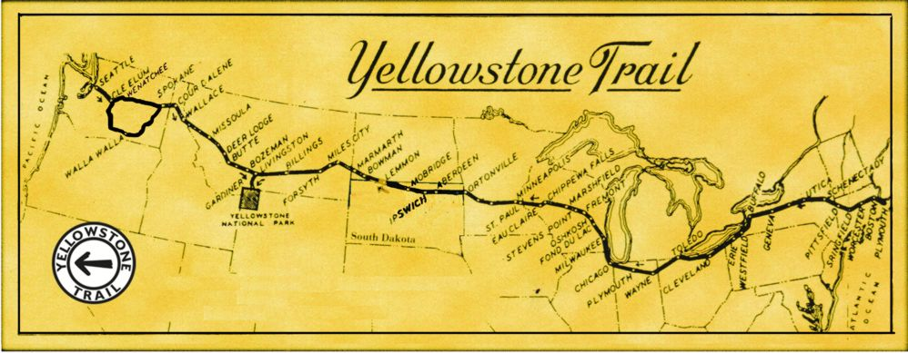 Yellowstone Trail map by John Ridge
