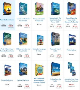 Lonely Planet has 15 different guidebooks for Australia alone (click the picture to go to its Australia products).