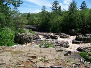 Former DEC bridge from bluff in park