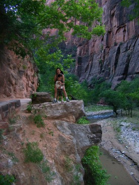 Yami and Sam above the Virgin River in Zion National Park, Utah, 2007. I almost regret having spent my tourism dollars in Rob Bishop's home state.